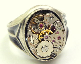 Vintage, Sterling Silver, Mens Steampunk Ring
