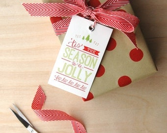 Jolly Holiday Gift Tags- Gift Tags with Twine Ties