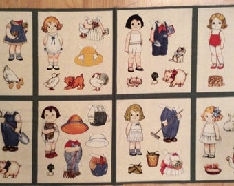 A Paper Dolls On The Farm With All The Farm Animals By Sibling Arts Fabric Panel Free US Shipping
