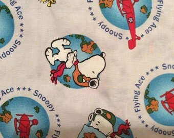 An Adorable Peanuts With Snoopy The Flying Ace The Pilot Of An Airplane Cotton Fabric By The Yard Free US shipping