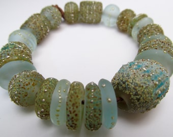 25 Ancient Maui Sea and Sand Hand Made Bead Set by SRA  Sarah Klopping in Pale Aqua with Enamels, Frits and  Fine Silver
