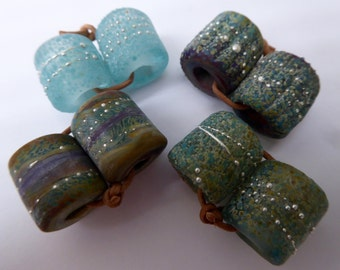 Made to ORDER    2 Sets of LHB  Sets in Mixed Glass with Frits, Powders and  Fine Silver handmade by Sarah