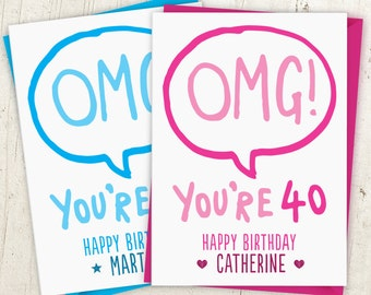 OMG Personalised Speech Bubble Birthday Card