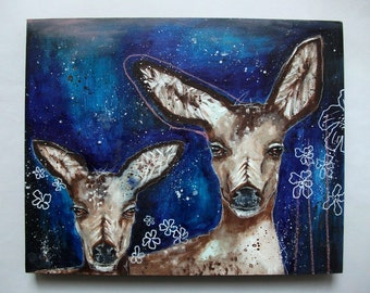 folk art Original deer painting whimsical mixed media art painting on wood canvas 8x10 inches - Now there are two