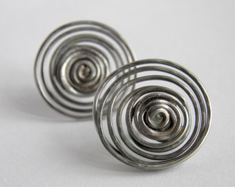 Large Silver Earrings - Post Spiral Hammered & Oxidized Irregular