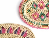 Set of Colorful Vintage Handmade Raffia and Grass Coil Baskets // Grass Basket // Ethnic Decor