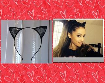 Ariana Grande Ear Headband - black Cat Ears - lace cat ear headband