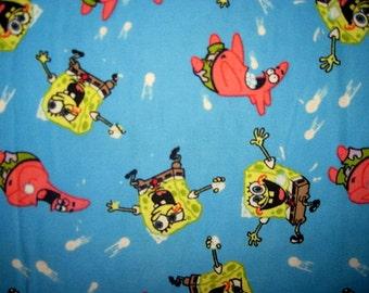 SPONGEBOB FLANNEL, Fabric, Snowball, Fight, Fat Quarter, FQ, 18X21, spongebob, scrap, remnant, flannel