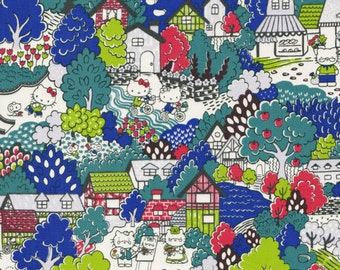 Liberty tana lawn  Hello Kitty printed in Japan Town  30cm length by 110cm wideth