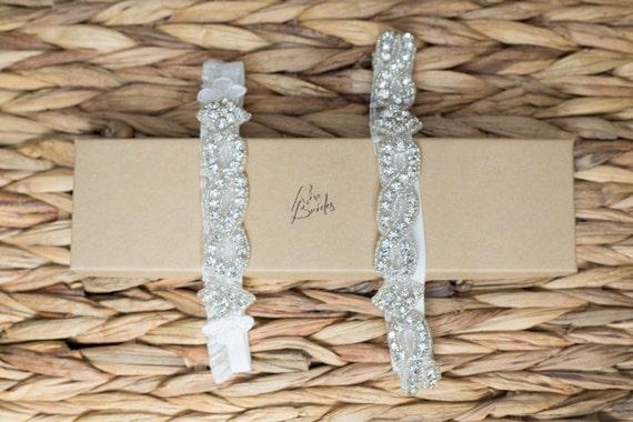 Wedding Garter - HAPPY THANKSGIVING The Original Crystal Garter - Now Ready To Ship bridal garter