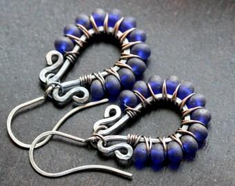 Cobalt blue beaded earrings, oxidized copper, purple, Czech glass, dangle, drop earrings, Mimi Michele Jewelry