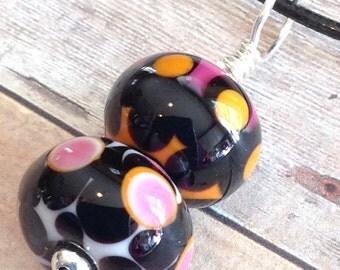 Lampwork Pendant - Lampwork Glass Bead Pendant - Lampwork Necklace - Lampwork Glass Bead Necklace - Black Pendant - Black Bead Necklace