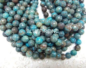 37 pcs Natural Blue Sky Jasper Faceted Round Beads 10mm - 16 Inch Strand