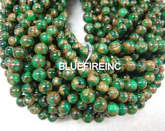32pcs 12mm Emerald Green Golden Vein Jade Round Stone Beads