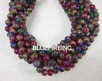 48pcs 8mm Emerald Green/ruby red/ blue Golden Vein Jade Round Stone Beads
