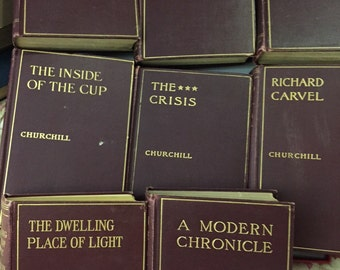 Winston Churchill antique Books set of 8 burgandy hardback covers with gold lettering 1898 to 1917 printings illustrated stories decorator