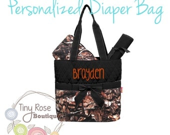 Personalized Camo Diaper Bag, Camouflage Monogrammed Baby Tote, Changing Pad, Mommy Bag