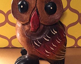 Vintage Wooden Owl, 1970's