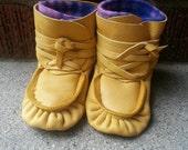 Authentic Handmade Baby Moccasins, Wrap around moccasins, leather moccasins, Baby Slippers, Native American Moccasins, Wraparound, baby shoe