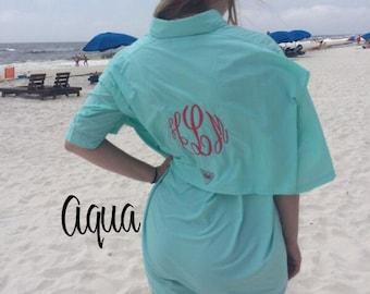 Women 39 s columbia pfg swim cover up long sleeve monogram for Custom embroidered columbia fishing shirts