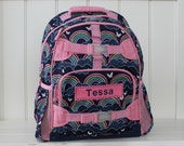 Small Size Pottery Barn Backpack With Monogram -- Navy/Pink Rainbow