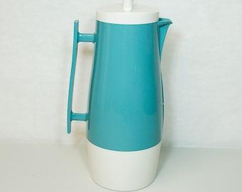 Aqua Blue Mid Century Pitcher Aladdin's Beverage Butler Carafe Thermos No 4450 1Qt