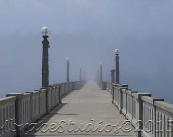 Bridge in the Fog Photograph - 5x7 inch photo in a 8x10 White Acid Free Matte