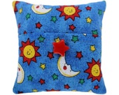 Light blue Tooth Fairy Pillow with pocket, solar print fabric, red star bead trim for boys or girls