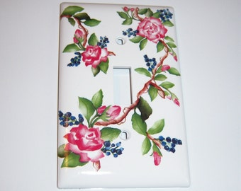Pink Climbing Roses - single light switch cover