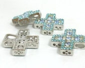 Sale Closout.. 10 pcs. rhinestones metal cross pendants 2 holes spacer beads , 20mm