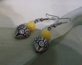 Yellow Candy Jade Heart Earrings - Angel Wings And Lemonheads - Yellow Earrings Bright Sunny Earrings Angel Wings Earrings