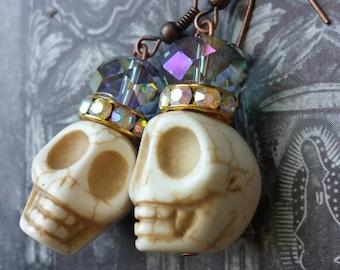 Frida Kahlo Inspired Earrings- Iridescent Purple & Skulls - Day of the Dead Jewelry, Sugar Skull Earrings, Drop Earrings, Turquoise, skulls