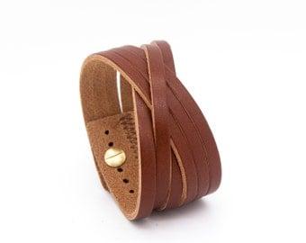 Tan leather cuff, brown leather cuff, leather cuff bracelet  - the Orleans