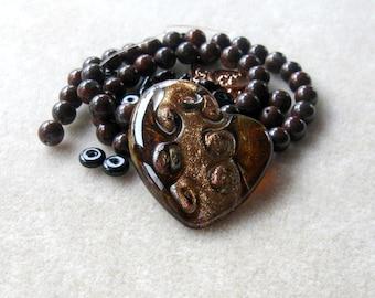 Murano Glass Heart Pendant, DIY Jewelry Kit, Craft Supplies, Bead Kit, Mahogany Obsidian, Copper, Bead Kit, Jewelry Design, Heart Pendant