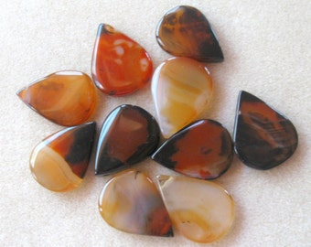 Dream Agate, Teardrop Pendant, Gemstone Pendant, Agate Gemstone, Jewelry Making Beads, Focal Bead, Pendant Bead, Agate Pendant, Brown Orange