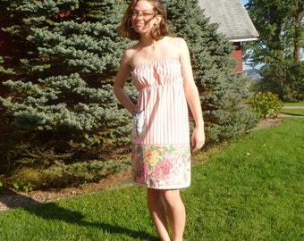 womens strapless dress ~ eco friendly in coral and ivory pinstripes ~ size s small, 4 - 6