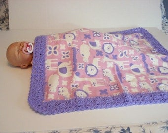 Preemie Baby Premature Pink Purple Jungle Animals Soft Flannel Baby Receiving or Nursing Blanket with Purple Crocheted Edge Baby Infant Girl