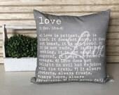 Love Is Patient Love is Kind - 1 Corinthians 13: 4-8 Chalkboard background pillow