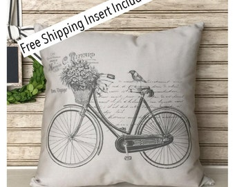 Vintage Bicycle | Bike Pillow | Throw Pillow | Cottage Decor | Insert Included