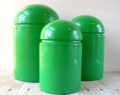 Set of Three Kartell Green Plastic Canisters - Anna Castelli - Made in Italy