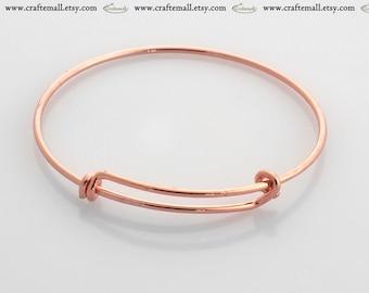 Charm bangle - rose gold adjustable bangle - one expandable bangle