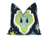 "Blue, Green Decorative Pillows 26"" EURO sham Premier IKAT Pillow Cover 26 inch Aqua Pillow ONE cm Designer Throw Pillow Cushion Cover Modern"