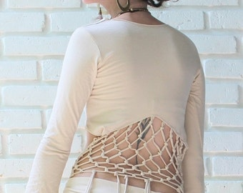 sale - Macrame gypsy long sleeve