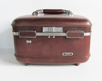 Vintage Brown American Tourister Escort Train Case - Makeup Case