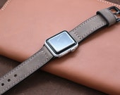 Hand Stitched Apple Watch Band in WARM GREY (Black or Silver Buckle)
