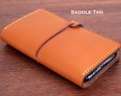 Hand Stitched ANDROID Phone Leather wallet in Saddle TAN (Free Personalization)