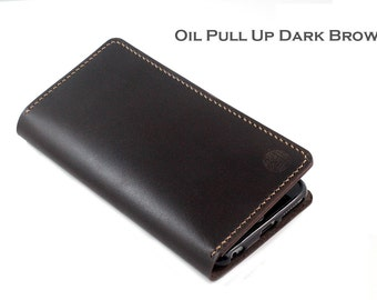Hand stitched Wallet for Android Smartphone in Oil Pull Up DARK BROWN Leather (Free Personalization)