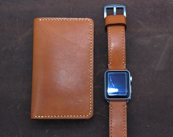 Hand Stitched Apple Watch Band in Saddle Tan