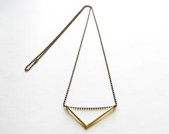 Brass Triangle Necklace-Brass V Necklace-Gold V Necklace-Minimalist Gold Pendant-Contemporary Jewellery-Modern-Handcrafted Jewelry