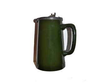 Antique / Vintage Pottery and Pewter Jug. Green. Home Decor. Kitchenware. Coffee Pot. Tankard. Stein.
